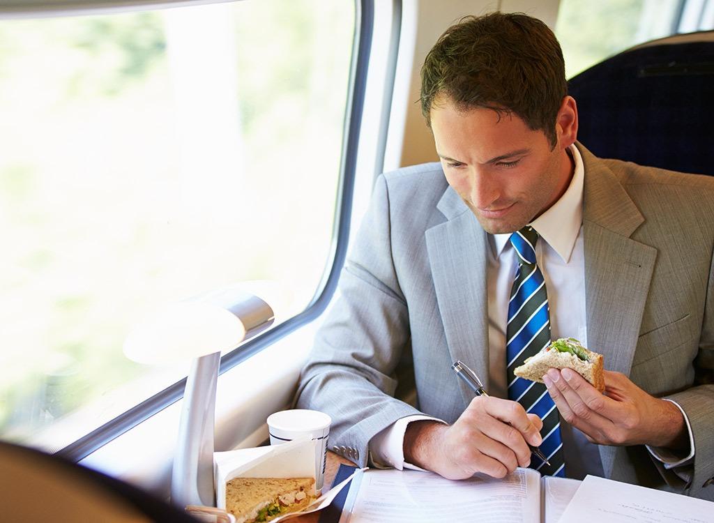 business man sandwich lunch