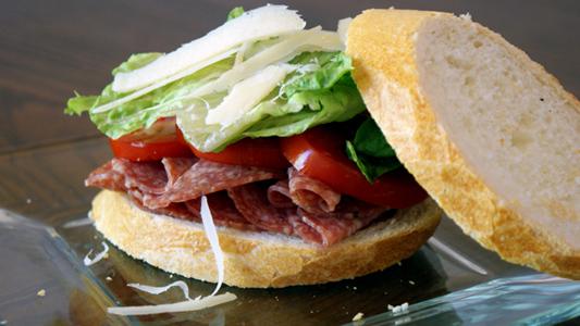 salami tomato and parmesan sandwich