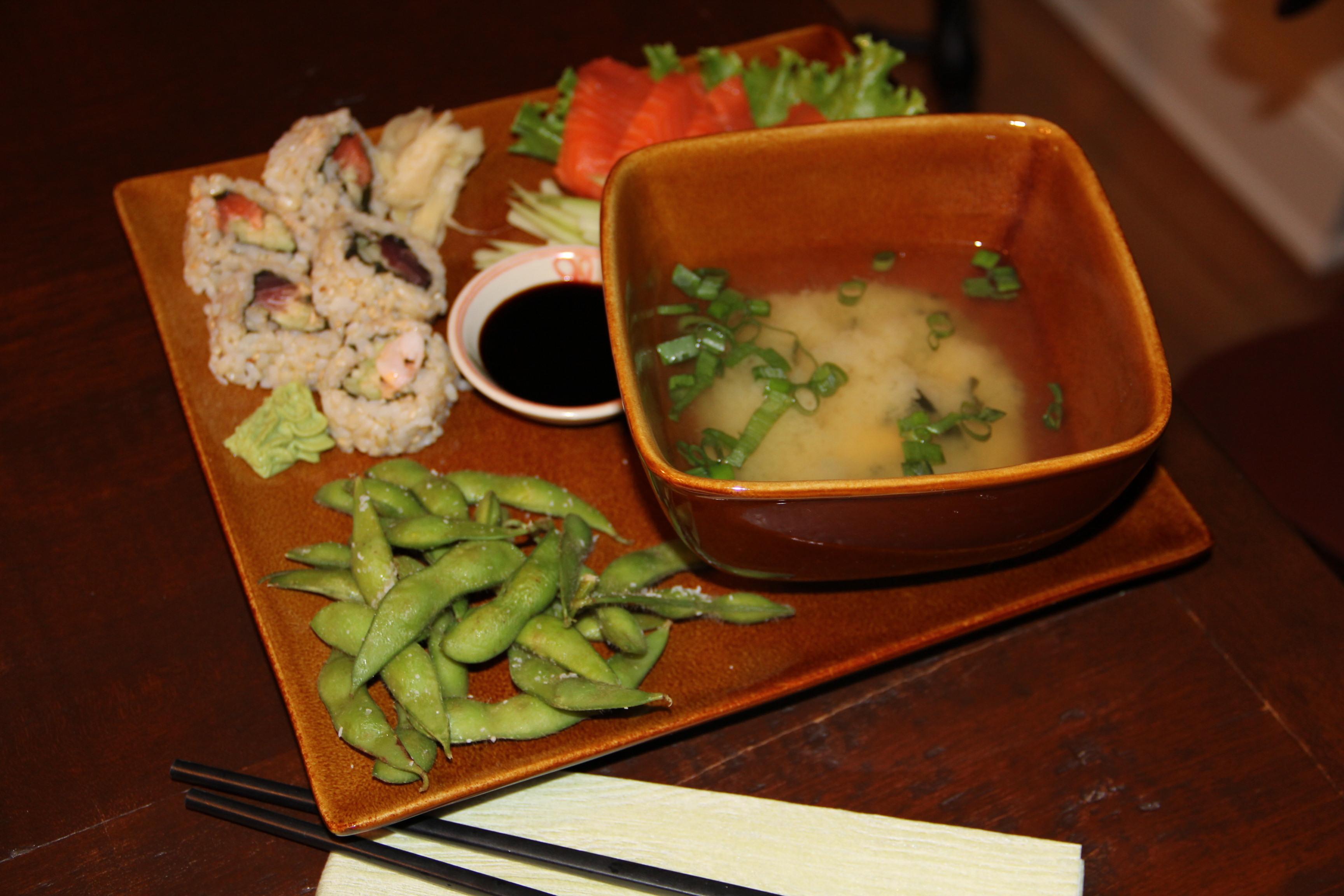 sushi sashimi edamame and miso soup