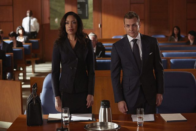 Jessica Pearson Gina Torres and Harvey Specter Gabriel Macht on Suits 640x427