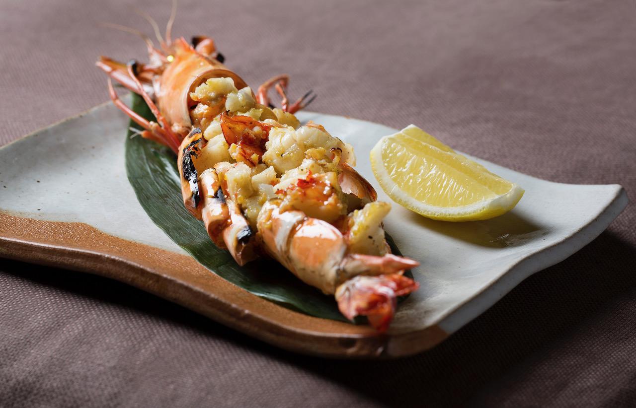 jumbo tiger prawn with yuzu pepper ebi no sumibiyaki koshou fuumi