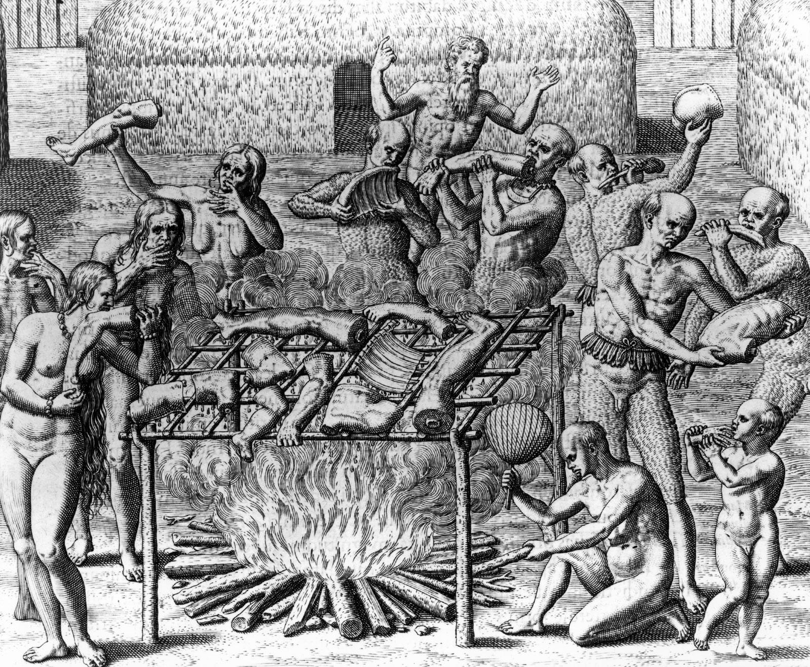 Human cannibalism engraving Theodor de Bry