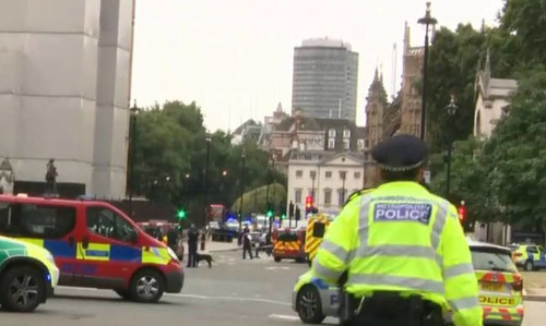Λονδίνο: Αστυνομικοί περικυκλώνουν το αυτοκίνητο που έπεσε σε οδόφραγμα (vid)