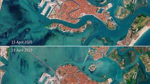 Απίστευτες εικόνες! Άδειασε η Βενετία λόγω κορονοϊού - Οι δορυφορικές λήψεις της NASA (photos)